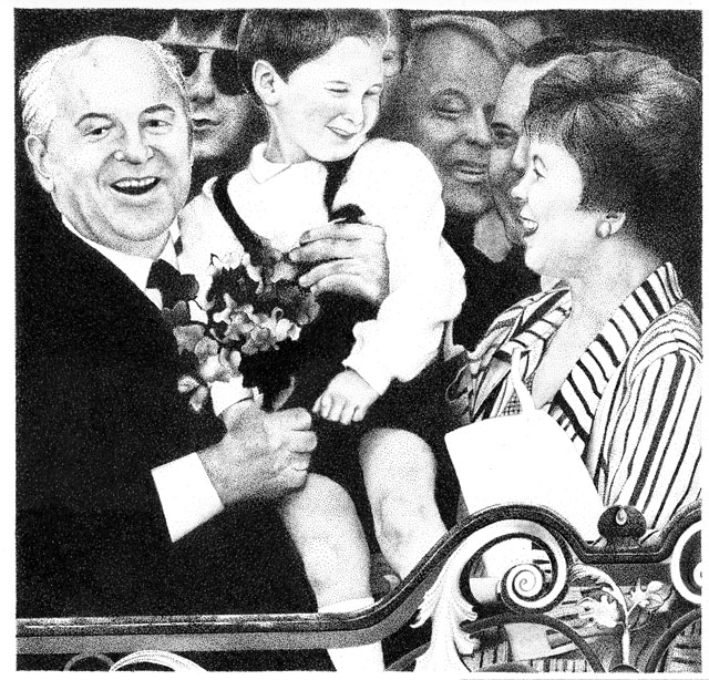 The Soviet party leader and head of state Mikhail Gorbachev and Raissa Gorbacheva on the balcony of  the historical town hall during their state visit in Bonn in 1989.