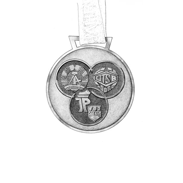 district's championship medal, front side,  M 2:1, ink drawing 2006, awarded in 1989 for 1st place at females' handball at the district-level Spartakiade (sports event), age group 14/15