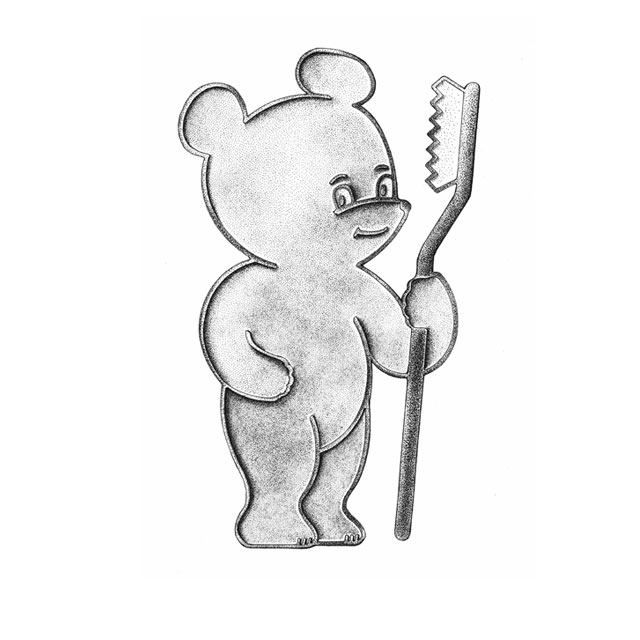 "Putzi, the dental healthcare bear, M 5:1, ink drawing 2006, awarded in 1980 for ""dilligent dental healthcare"""