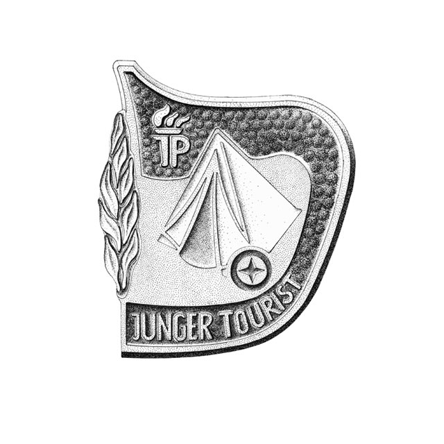 "tourist badge for pioneers,  M 4:1, ink drawing 2006 awarded in 1987 for ""successful participation in combined tourist contests"""