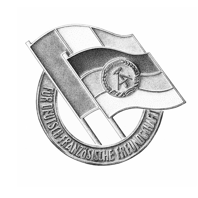 badge of the Society for German-French Friendship,  M 4:1, ink drawing 2006 awarded in 1988 as badge of entry