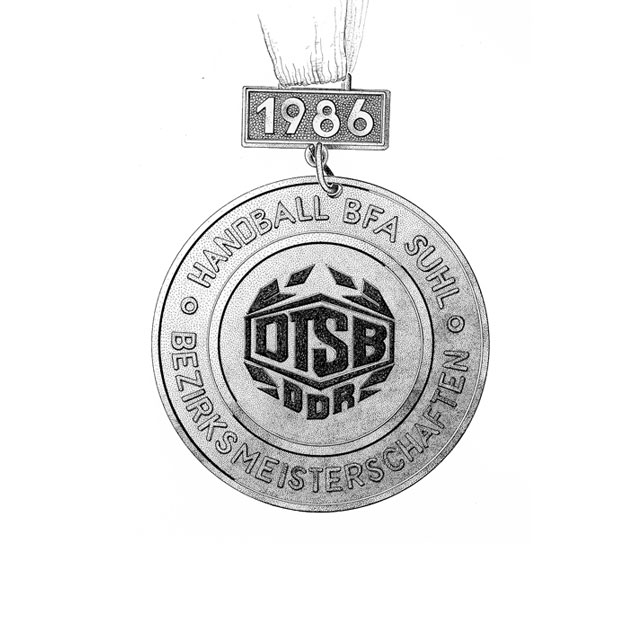 county´s championship medal, front side, M 1, 5:1, ink drawing 2006, awarded in 1986 for 3rd place at females' handball at the county-level Spartakiade (sports event), age group 11/12